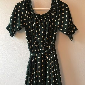SheIn Green with white polka dot dress